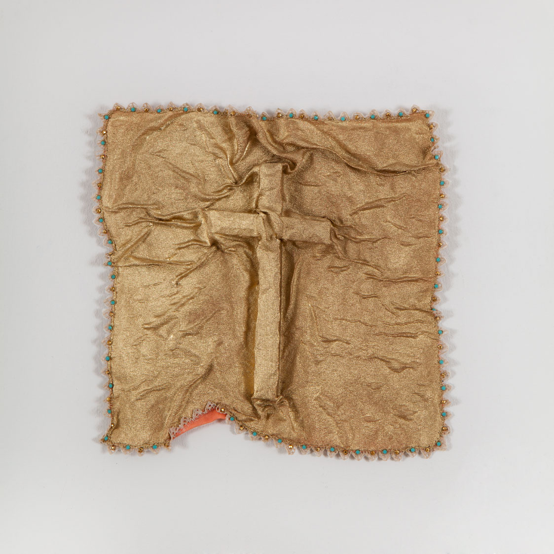 Fatma Abu Roumi, Bridal Kerchief, 2015. Cloth, wood, zircons and glue, 17 × 17 cm. Artist's collection