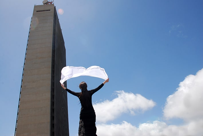 Amira Ziyan, To Touch the Clouds, 2012. Photograph on Dibond, 105 x 70 cm. Artist's collection