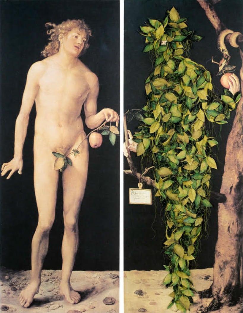 """אנדי ארנוביץ, 504 שנים מאוחר יותר, 2011. סריקות  דיגיטליות על נייר פוג'י, עלים וחוטים תפורים ביד, 2 לוחות,  120×45 ס""""מ כל לוח. אוסף האמנית. צילום: אבשלום אביטל"""