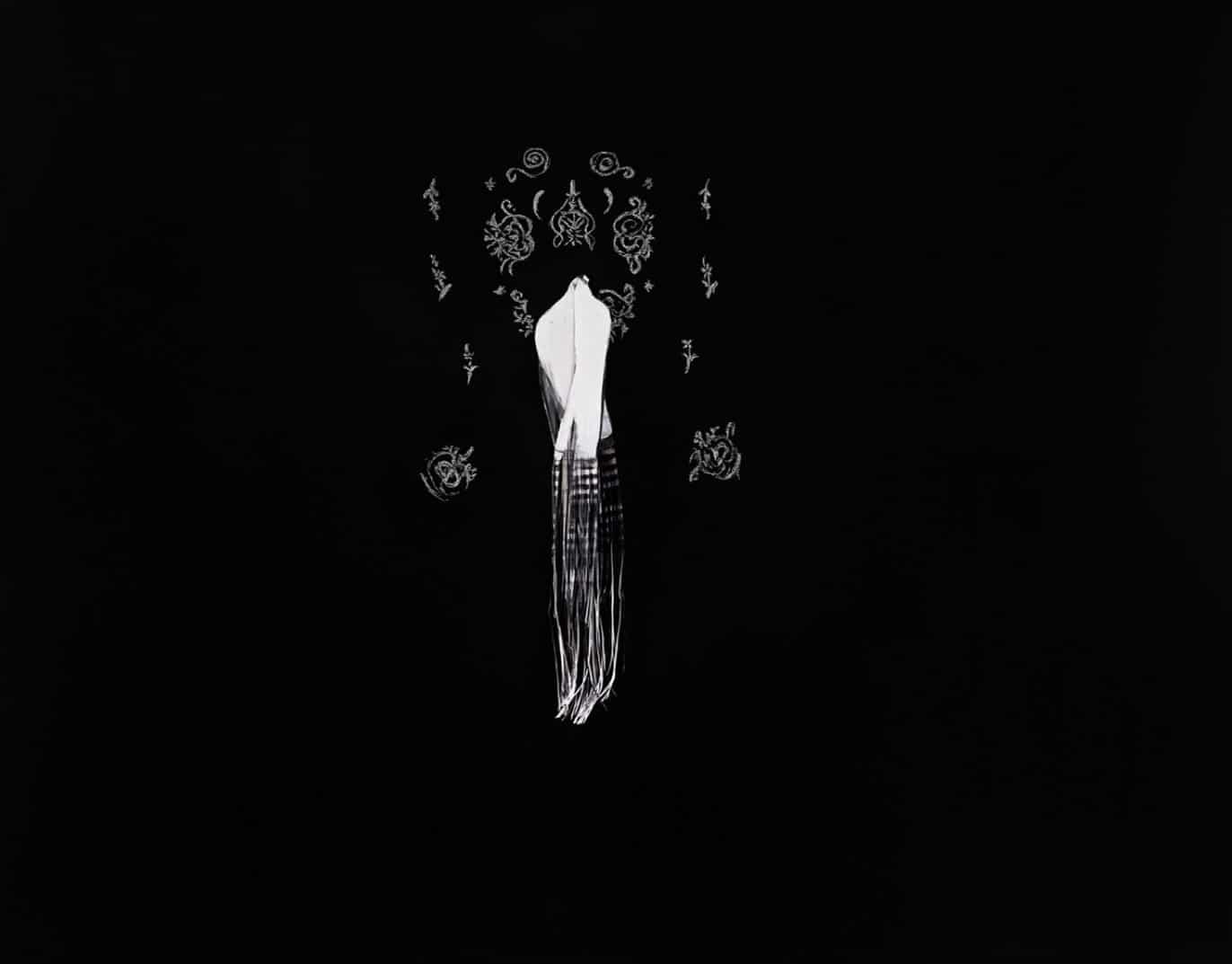 יעל סרלין, קרטוגרפיה של סימנים אבודים (לוח 2/3), 2020-2018. טכניקה מעורבת על לוח שחור, 2x2.60 מטר. אוסף האמנית