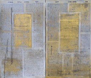 "Shula Keshet, Eve-Lilith / Hagar-Ketura, 2011. From the series ""Women's Tractate A"", Text: Genesis Chapters 1, 2, 3, 16, 21. Interpretation: Nitza Keren, Rachel Reich, Hamutal Guri, Yafa Eliasi, Orna Zaken, Ora Lev-Ron, Loren Milk, Esther Eilam, Esther Shkalim. Acrylic and ink on canvas, 120 x 80 cm. Artist's collection"