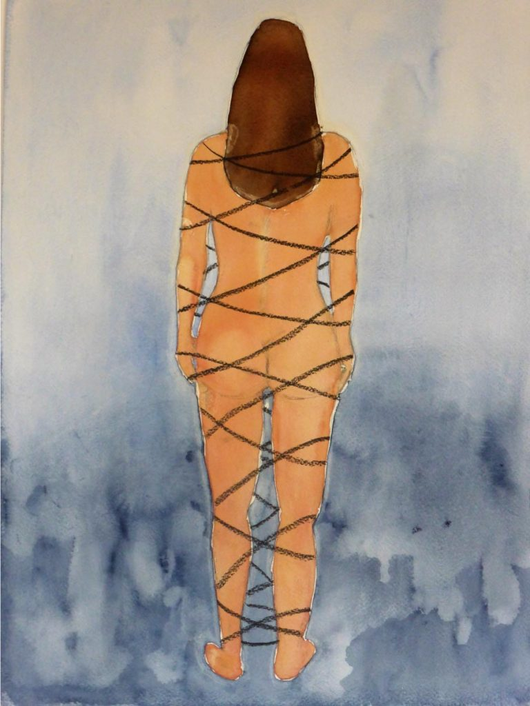 Ruth Schreiber, Aguna (Chained Woman), 2011. Watercolor, charcoal, 52 × 37 cm. Artist's collection